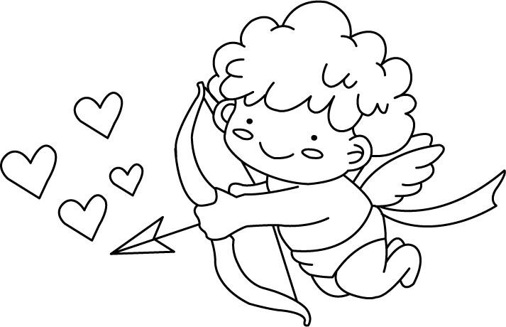 Раскраски ангелочков ко дню святого валентина