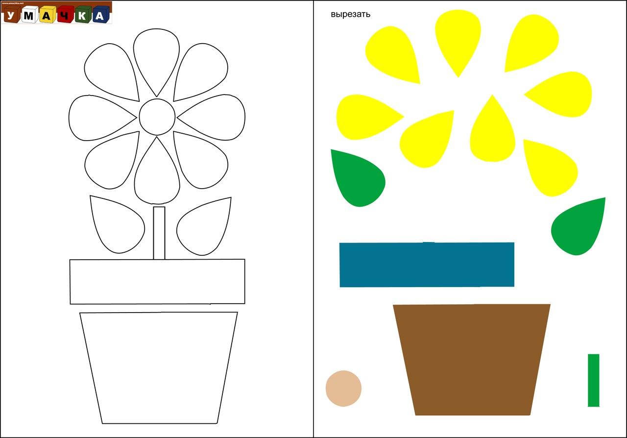 Аппликации из цветной бумаги для малышей распечатать